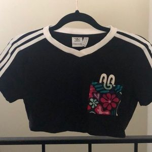 Adidas striped crop top